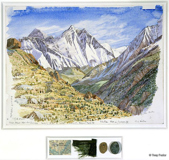 BS12 From Above Namche Bazaar · 11748' / 3560m -  Looking North East to Nuptse, Lhotse and Everest · 2005 -  12'' x 16'' / 2½'' x 8'' pencil and watercolour on paper -  map / prayer flag / mani stone / pebble