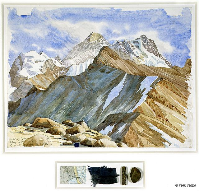 BS14 From Gokyo Ri · 17365' / 5280m -  Looking 85°East to Everest · 2005 -  12'' x 16'' / 2½'' x 8'' pencil and watercolour on paper -  map / prayer flag / mani stone / pebble