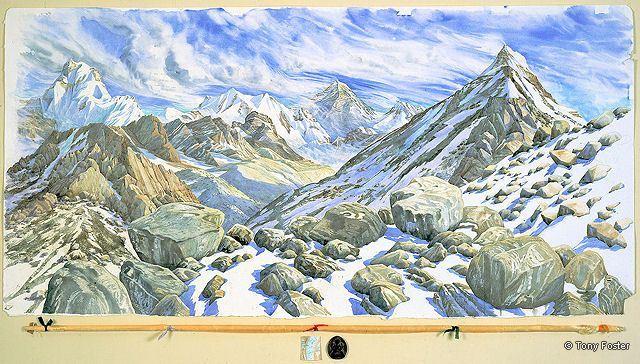 BS15 Looking East through Changri La to Everest from above Ngozumpa -  Four Days at 17600' / 5370m · 2005 · 36'' x 72'' / 4'' x 72'' -  pencil and watercolour on paper -  kata / map / terracotta relic