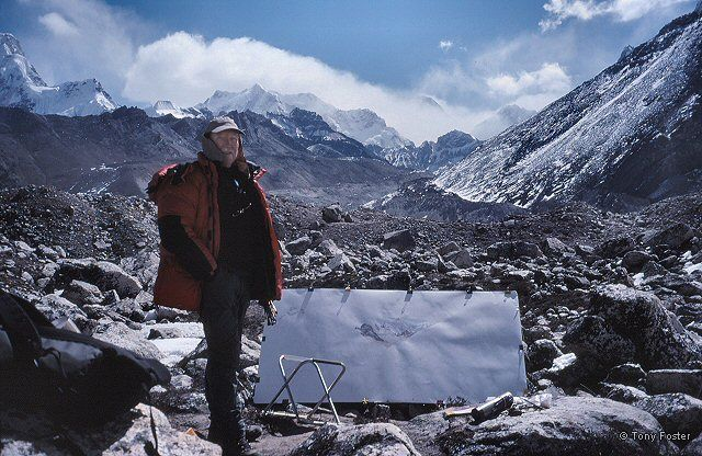 Tony with unfinished 6' painting of Everest from Ngozumba above Gokyo (17,500') - Photograph © 2005 Mike Nathan