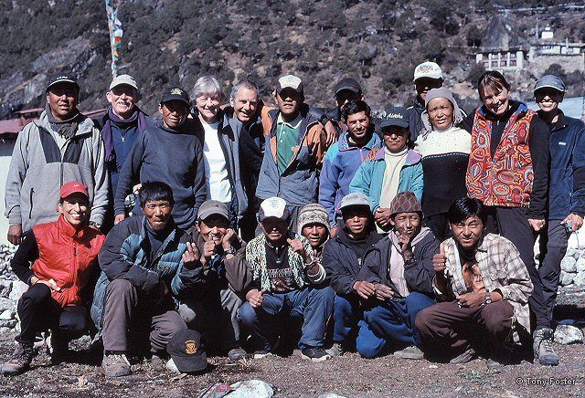 The entire group (who dubbed themselves Team Rag Bag in response to the uniformed Team Honda who were attempting to summit this season) at the end of the trek.