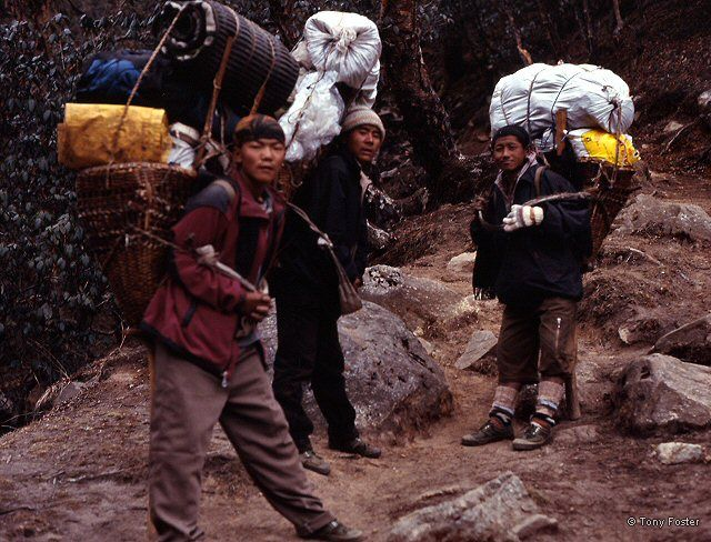 Three porters on the way up to Gokyo - Photograph © 2005 Mike Nathan