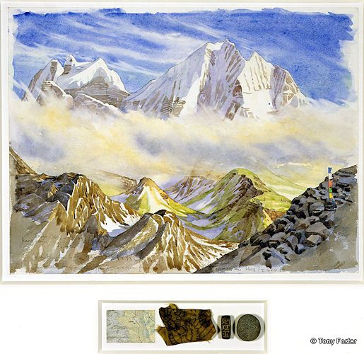 BS13 From Luza · 14544' / 4433m -  Looking South East to Kang Taiga and Tramserku · 2005 -  12'' x 16'' / 2½'' x 8'' pencil and watercolour on paper -  map / prayer flag / mani stone / pebble