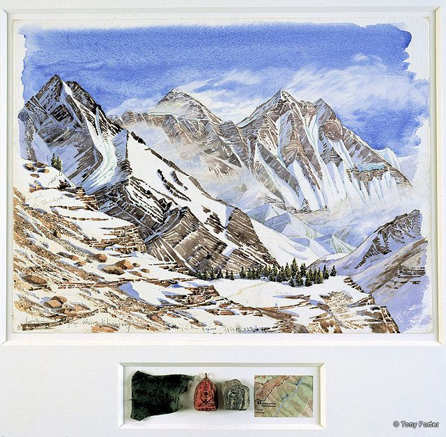 BS18 From Syangboche · 12613' / 3835m -  Looking 55° East North East to Everest -  Lhotse and Lhotse Shar · 2006 -  12'' x 16'' / 2½'' x 8'' pencil and watercolour on paper -  prayer flag / coral Bhudda / rock / map