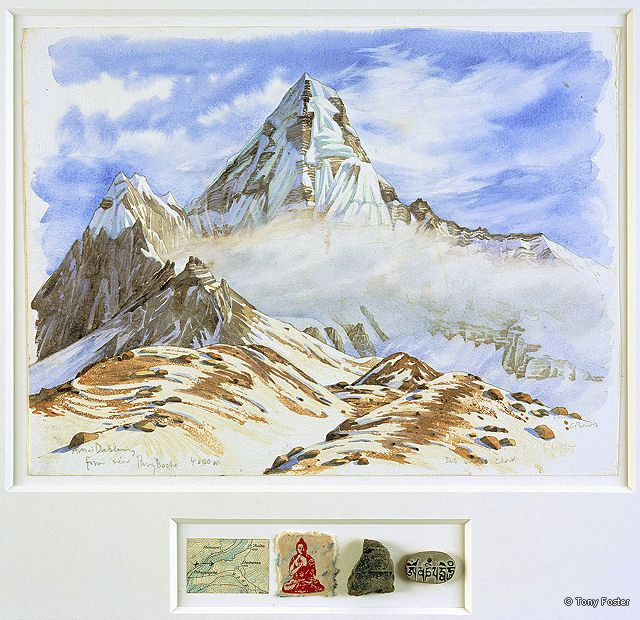 BS19 From Above Pangboche · 14550' / 4410m -  Looking East to Ama Dablam · 2006 -  12'' x 16'' / 2'' x 7'' pencil and watercolour on paper -  map / printed Bhudda / rock / mani stone