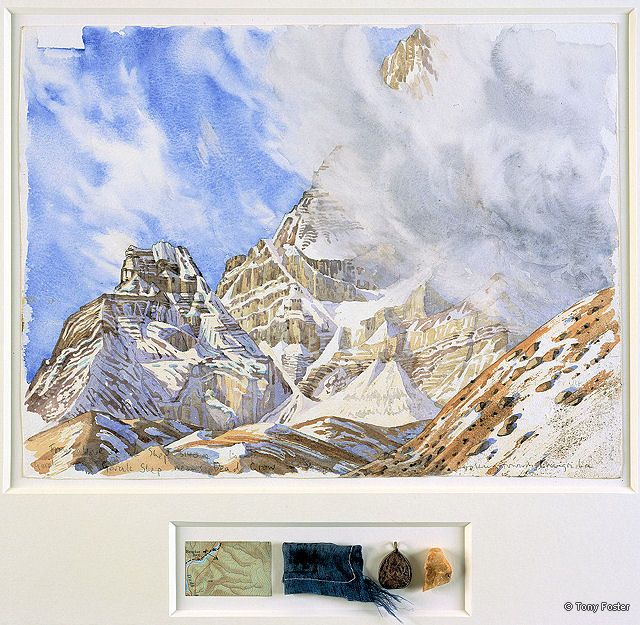 BS20 From Above Gorak Shep · 17450' / 5288m -  Looking West to Changri-La and Chumbu · 2006 -  12'' x 16'' / 2'' x 7'' pencil and watercolour on paper -  map / prayer flag / crystal Buddha / stone
