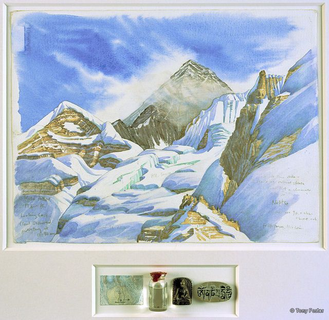 BS21 From Kala Pattar · 17800' / 5400m -  Looking East to Everest · 2006 -  12'' x 16'' / 3'' x 7'' pencil and watercolour on paper -  snow in sealed bottle / metal Bhudda / mani stone / map