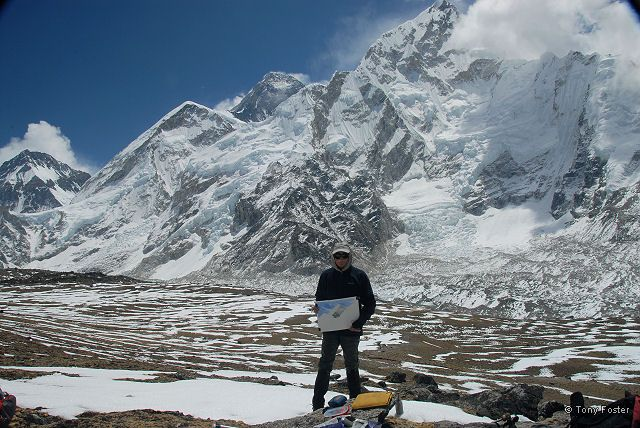 Tony with his small study of Everest - his highest ever.  © Kurt Ohms 2006