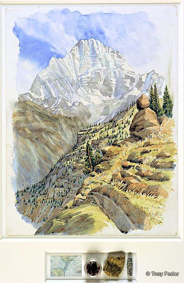 BS17 Bhudda Rock and Kushum Kamguru from the -  Trail beyond Bengkar 9600' / 2905m · 2006 -  16'' x 12'' / 2'' x 6'' pencil and watercolour on paper -  map / incense / prayer flag / mani stone