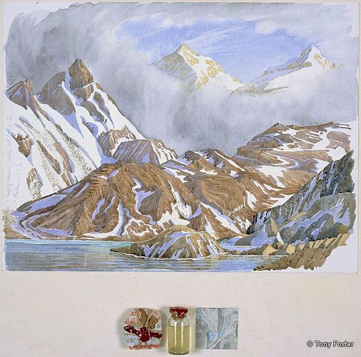 BS 26 Makalu and Kangchungtse Looking -  South East from Camp 2 · 15200' / 4606m · 2007 -  12'' x 16'' pencil and watercolour on paper -  wrapped and sealed Bhudda -  lakewater in sealed bottle / map