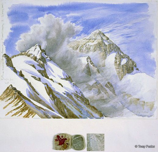 BS 25 Mt Everest North Face from -  Basecamp · 17700' / 5361m · 2007 -  12'' x 16'' pencil and watercolour on paper -  wrapped and sealed Bhudda / pebble / map