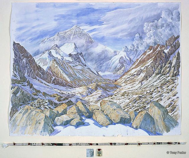BS 24 Everest North Face from above Rongbuk -  Monastary Looking South · 16500' / 5000m · 2007 -  36'' x 47'' / 3'' 46'' pencil and watercolour on paper -  wrapped and sealed kata / map / snow in sealed bottle