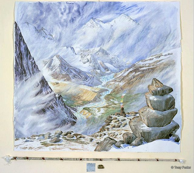 BS 27 The East (Kangshung) Face of Everest from above the Kama Valley · 15400' / 4670m · 2007 - 36'' x 38'' pencil and watercolour on paper. Wrapped and sealed kata / map / pebble