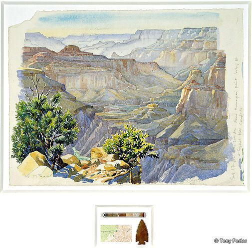 BS2 From near Havasupai Point looking East 2004 -  10'' x 14'' / 1½'' x 2½'' pencil and watercolour on paper -  glass test tube / pulverised rock samples -  map / arrowhead by Homer Etherton -