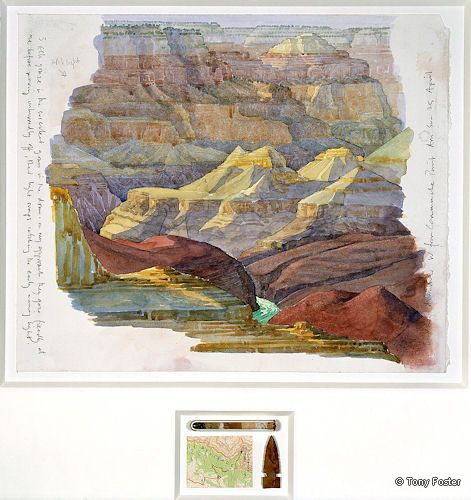 BS5 Looking West Downriver from Commanche Point 2004 -  10'' x 12½'' / 1½'' x 2½'' pencil and watercolour on paper -  glass test tube / pulverised rock samples -  map / arrowhead by Homer Etherton
