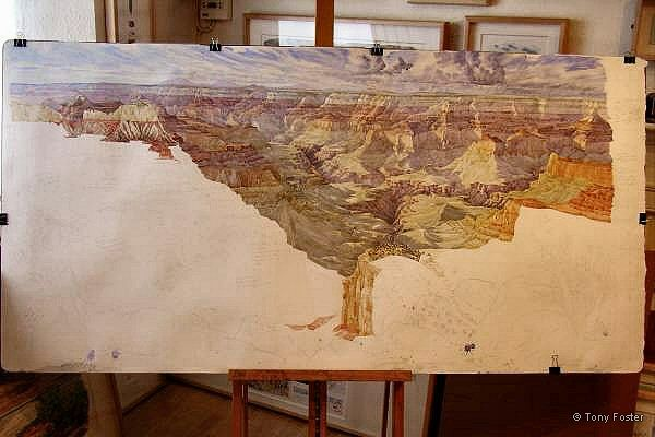 From Point Sublime looking ESE - 6 ft x 3 ft unfinished watercolour showing the amount of work done on site.