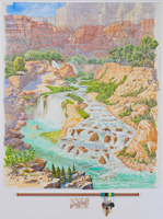 Seven Days by Havasu Creek – Navajo and Fifty Foot Falls · Looking West Southwest