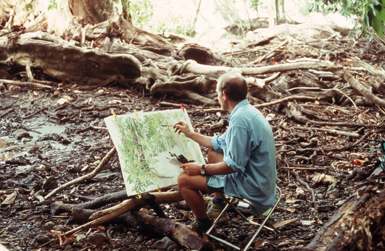 Tony painting in rainforest