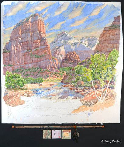 Angels Landing Looking North Northeast along the Virgin River. 36½ x 36 / 3 x 36. Pencil and watercolour on paper, map, sand and glass beads in glass tube