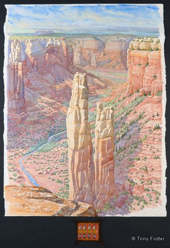 Spider Rock from Spider Rock Overlook. 36½ x 28 / 3 x 5. Pencil and watercolour on paper, map, Navajo miniature Yeibeichei weaving -  -