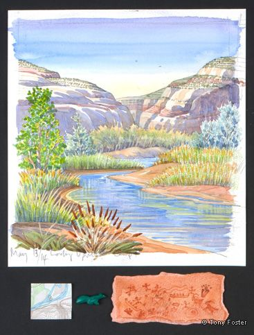 San Juan River Camp I - River House, 10 x 9½ / 2 x 8, Pencil and watercolour on paper, map, Zuni greenstone squirrel fetish