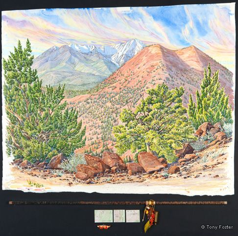 Dook Oslid / Yellow Mountain (Mt Humphreys) and Sunset Crater Looking West Northwest from the Summit of an Unnamed Volcanic Cone. 29½ x 36¼ / 4 x 36. Pencil and watercolour on paper, maps, stones in glass tube, feather, red coral, shell, glass beads, brass cartridge, arrowhead by Homer Etherton, shell fox fetish by Bermard Homer Jr.