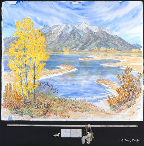 Sis na' jin / White Mountain (Mt Blanca) Looking East Northeast from Blanca Wetlands. 31½ x 36½ / 4 x 36. Pencil and watercolour on paper, maps, salt in glass tube, feather, shells, coral, shell and glass beads, brass cartridge, arrowhead by Homer Etherton, alabaster coyote fetish by Tim Lementico