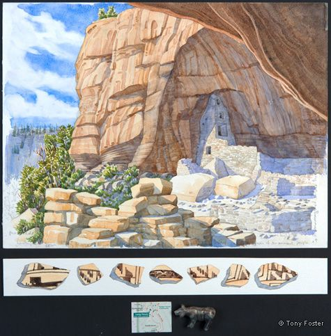Mesa Verde • Looking Southwest from Long House. 12 x 16 / 2 x 16. Pencil and watercolour on paper, map, Picasso marble bobcat fetish by Avery Quandelacy -  -