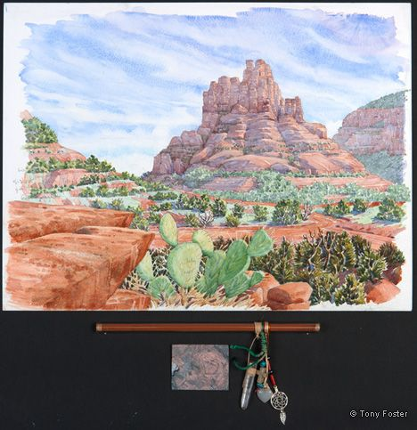 Looking South to Bell Rock. 12 x 16 / 3 x 9. Pencil and watercolour on paper, sand in glass tube, rose quartz heart, quartz crystals, silver fish, Tibetan knot, dreamcatcher