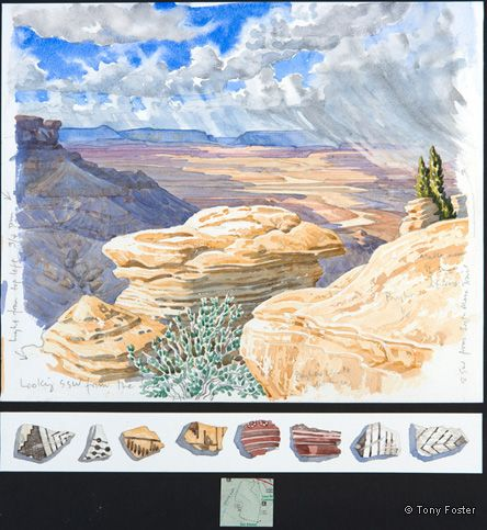 Chaco Canyon • Looking Southwest from the South Mesa Trail. 12 x 14¼ / 2 x 14¼. Pencil and watercolour on paper, map