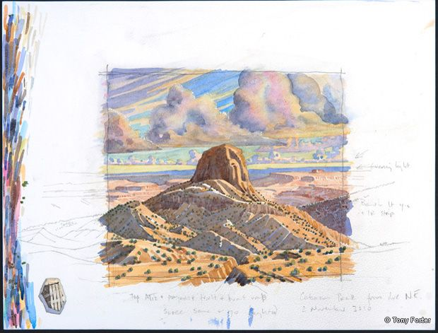 Looking Southwest to Cabezon Peak. 12 x 16. Pencil and watercolour on paper