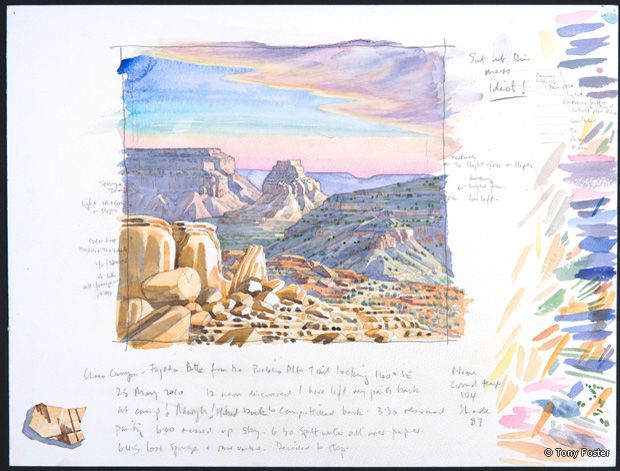 Chaco Canyon • Fajada Butte from the Pueblo Alto Trail looking 140° Southeast. 12 x 16. Pencil and watercolour on paper