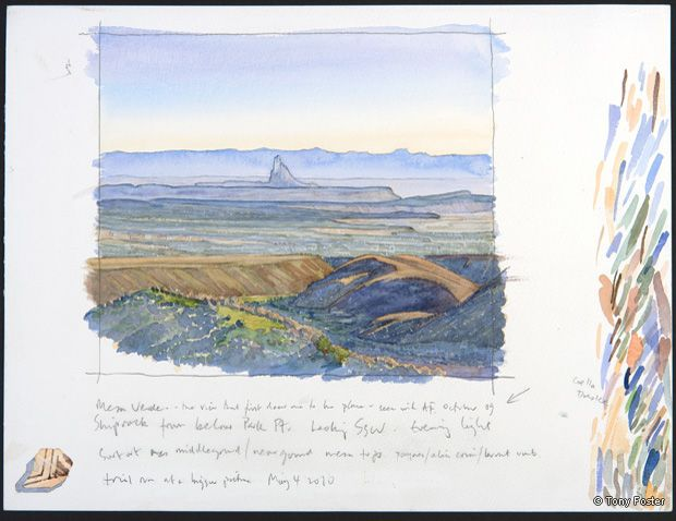 Tse' Bit' Ai / Shiprock • Looking South Southeast from Park Point, First Attempt. 12 x 16. Pencil and watercolour on paper -  -