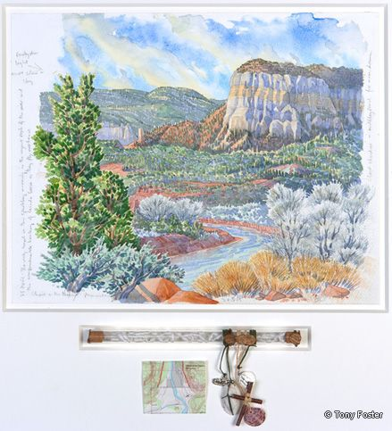 Christ in the Desert Monastery • Looking Southwest on the Rio Chama. 12 x 16 / 3 x 9. Pencil and watercolour on paper, rosary in glass tube, wax, milagro, medal, wood, shell, stone, map