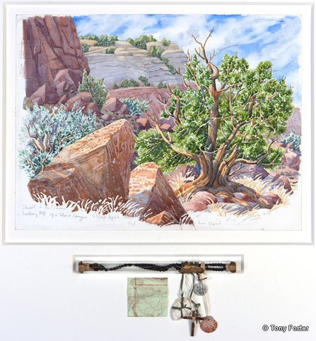 Christ in the Desert Monastery • Tree and Rock in a Blind Canyon. 12 x 16 / 3 x 9. Pencil and watercolour on paper, rosary in glass tube, wax, milagro, medal, wood, shell, stone, map