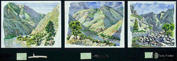 4 Days Rafting Hells Canyon · 31.5 miles · Hells Canyon Dam to Pittsburg Landing · -  Tryptych – each (approx 10'' x 11½''   2'' x 5'')