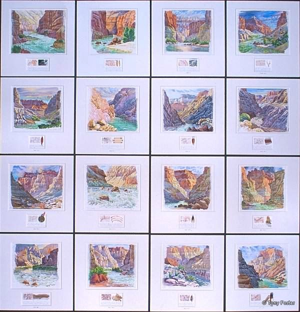 · 16 Days Rafting the Colorado – 225.8 miles – Lee's Ferry to Diamond Creek · -  16 paintings each 16'' x 16'' (framed) 2001   -