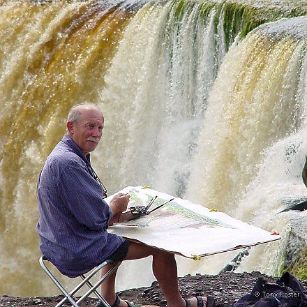 Tony Foster at Kaeiteur Falls, September 2002 -  Photograph © 2002 Mike Nathan