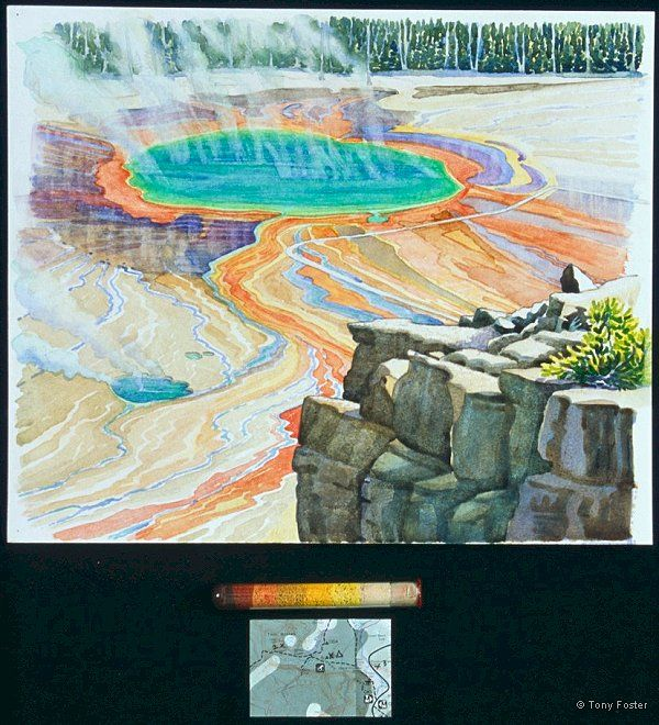 Prismatic Pool looking WSW from Excelsior Cliff · -  10'' x 12¼''   3'' x 4'' -